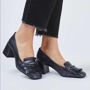 TOPSHOP block heel fringe loafers
